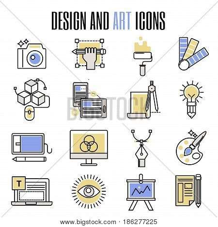 Design and art icons in flat design artistic entertainment symbols graphic color creativity collection vector illustration