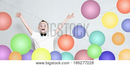 Cheerful Kid Is Jumping Out From Colorful Balloons