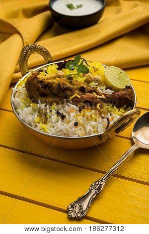 Hyderabadi chicken biryani or dum biryani, selective focus