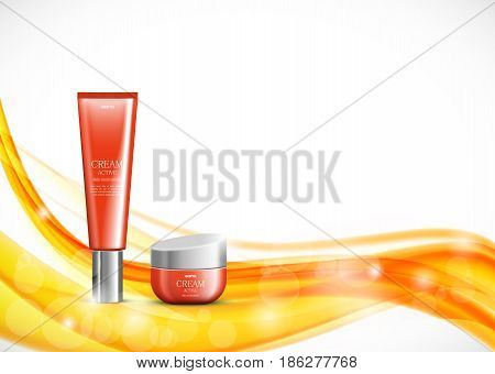 Skin moisturizer cosmetic design template with red realistic packages on orange light wavy dynamic soft lines background. Vector illustration