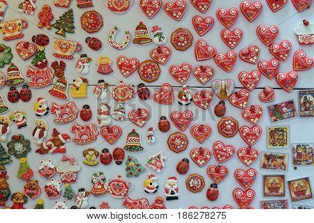 ZAGREB, CROATIA - DECEMBER 22: Shop of Zagreb souvenirs at Advent Fair in Zagreb, Croatia on December 22, 2014