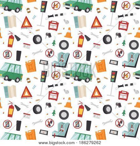 Auto transport motorist icons symbols and equipment symbols service car driver tools high detailed vector illustration set. Prohibitive signs seamless pattern automobile mechanic.