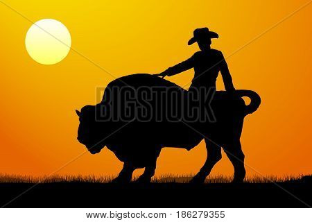 Rodeo rider silhouette sunset, vector , illustration