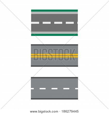 Template set of straight asphalt roads highways vector illustrations asphalt way journey transportation trip drive highway. Nature traffic line path empty transport perspective.