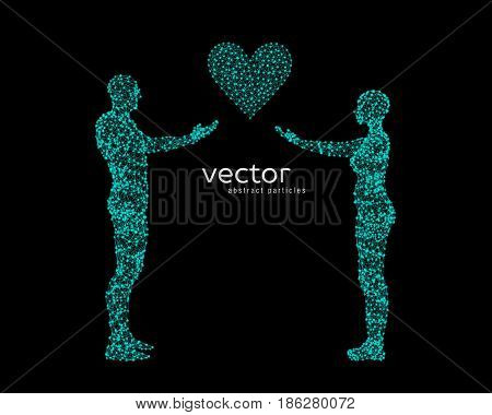 Vector Illustration Of Couple With Heart.