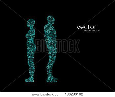 Vector Illustration Of Couple Near To Each Other.