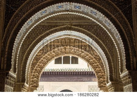 Granada, Spain - February 10, 2015: A Close-up View To Decorated Details Of An Archway At Palace Of