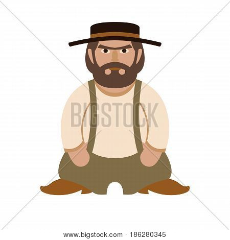 men character vector illustration style Flat  side front
