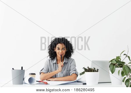 Job, Career, Profession, Occupation And Success Concept. Attractive Self-determined Young Woman Engi
