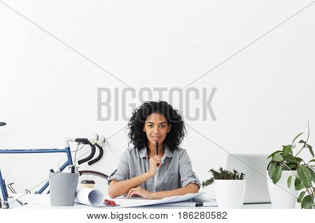 Construction, Engineering And Architecture Concept. Positive Young Dark-skinned Female Engineer Touc