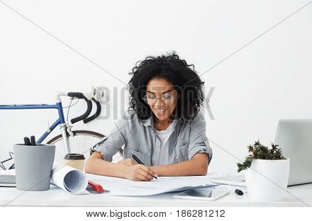Youth And Education. Cheerful University Student Studying Architecture And Construction Working On H