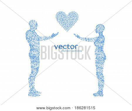 Abstract vector illustration of couple with heart.