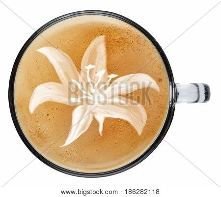 cup of coffee latte with foam isolated on white background. Top view latte art coffee. Lily flower on latte art drawing coffee cup