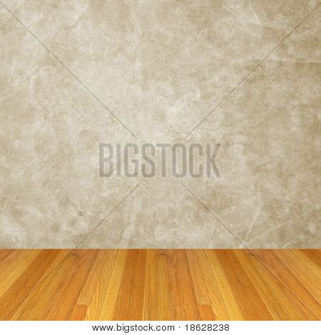 Grunge Room with a Grey Wall and Wood Floor.