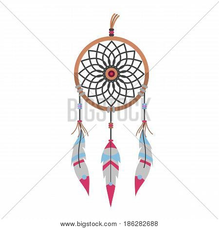 Isolated tribal decoration bohemian dreamcatcher boho feathers native dream chic design vector illustration. Mystery etnic tribal print american culture romantic design