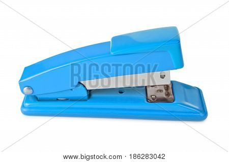 Blue Stapler Lies Isolated On A White Background