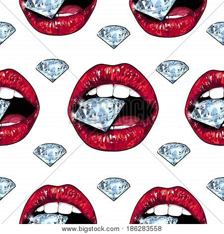 Bright red lips holding a sparkling brilliant. Seamless pattern. Realistic graphic drawing. Background. Blue color