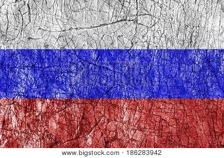 Grudge stone painted Russia flag close up