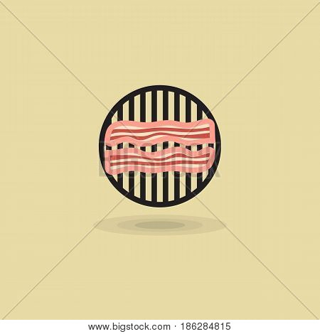 Vector icon two slices bacon on barbecue grill. Illustration bacon fried on grill bbq isolated on yellow background. Illustration pork meat