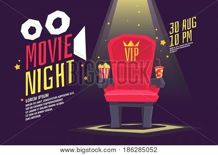 Colorful poster movie night with a projector, reels, seat and ticket. Vector illustration in cartoon style