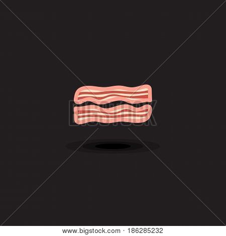 Vector icon two slices pork bacon. Illustration bacon isolated on black background. Illustration pork meat