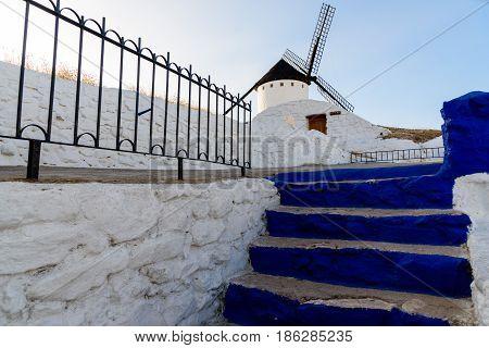 Famous windmills in Campo de Criptan, Spain