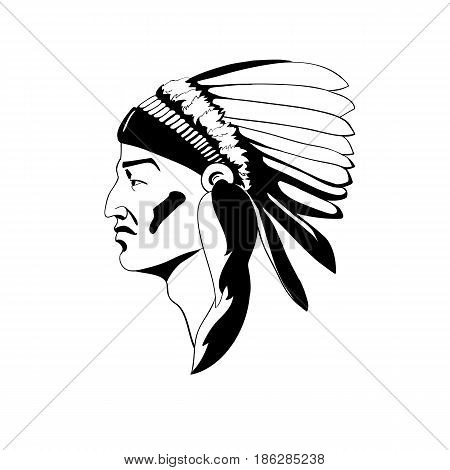 A stylized profile of the Indian chief in traditional ceremonial headdress. Vector illustration of simple silhouette style poster