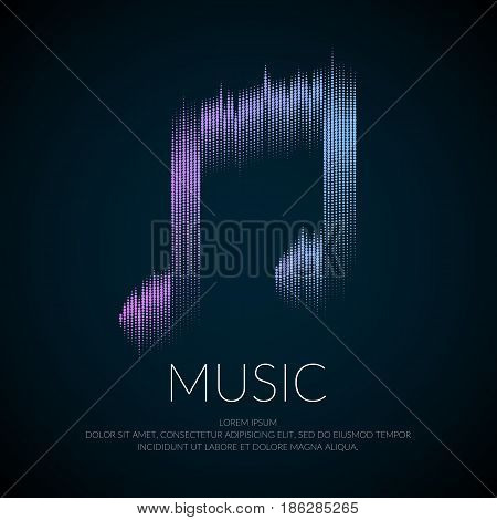 Modern logo or emblem music note in the form of equalizer. Vector sign for online radio or music events