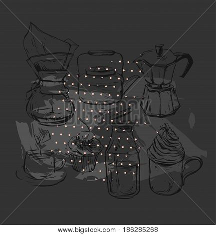 Hand drawn vector graphic realistic set with coffee design elements coffee maker, teapot, mug with whipped cream glass bottle with milk, geyser coffee and cupcakes isolated on black background.