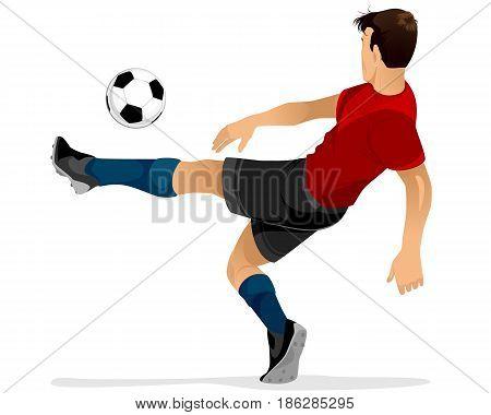 Vector illustration of a football player kicks off