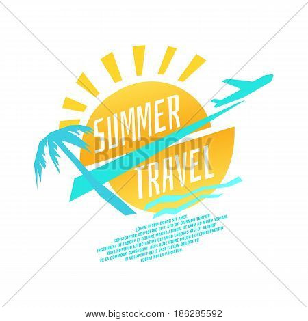 Vector illustration of summer travel with plane, sun, palm trees and the sea in flat cartoon style