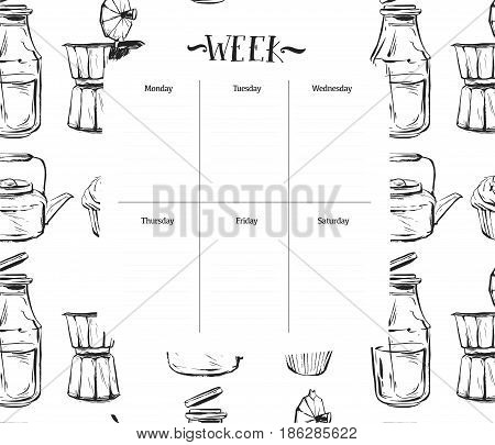 Scandinavian Weekly and Daily food Planner Template.Organizer and Schedule with Notes and To Do List.Vector.Isolated.Graphic kitchen elements in black and white colors.Recipe weekly daily for cooking