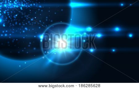 Space abstract background with planet and star rise. Vector illustration
