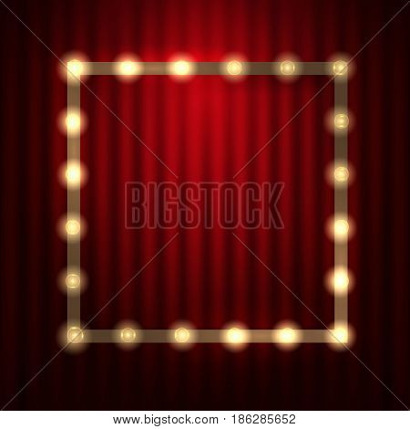 Light Bulb Frame against red theatre or cinema curtain. Glowing Signboard with a blank space for Your Text. Vector Illustration