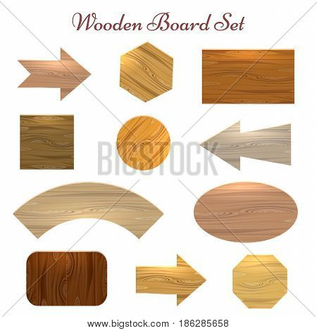 Wooden sign board label set. Eleven various shapes and types of wood sign boards for price sale stickers banners etc. Vector illustration.