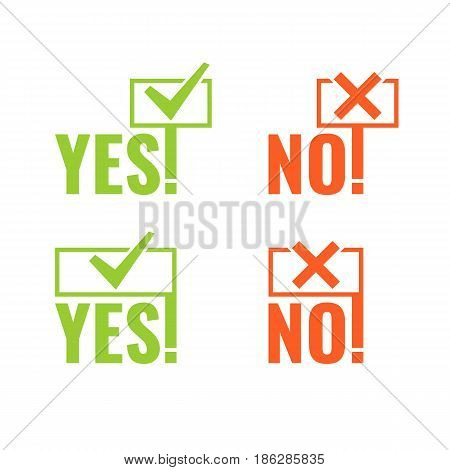 Set with banners of voting Yes and No in hands in minimalistic flat style