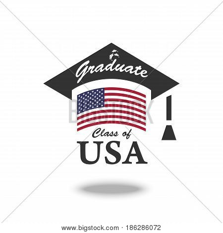 Vector graduate USA Icon. Color american flag in education cap. Class of USA university
