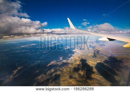 Sky View Aeroplane Landscape Costa Line Blue Sky Sea