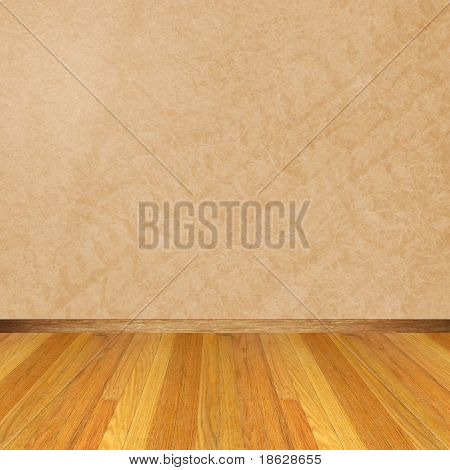 Dimensional Room with a Wood Floor and light Brown Wall