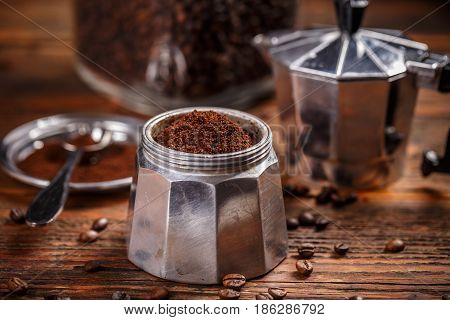 Ground Coffee And Moka Pot
