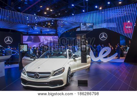 LAS VEGAS - JAN 08 : The Mercedes booth at the CES Show in Las Vegas Navada on January 08 2017. CES is the world's leading consumer-electronics show.