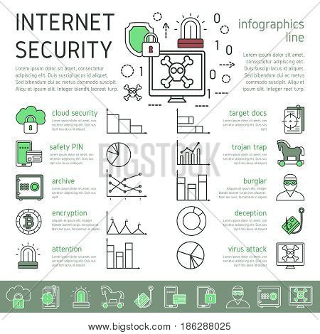 Internet security linear infographics with virus attack design data protection icons text graphs diagrams vector illustration
