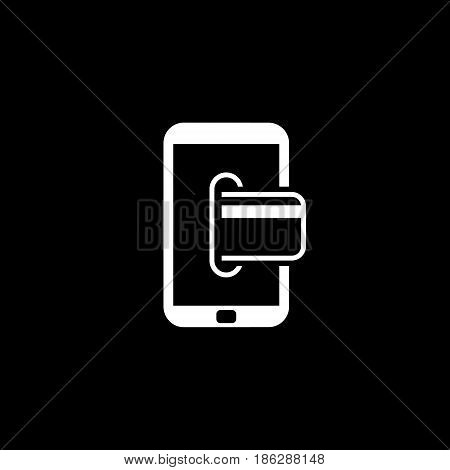 Mobile Banking Icon. Business Concept. Flat Design. Isolated Illustration.