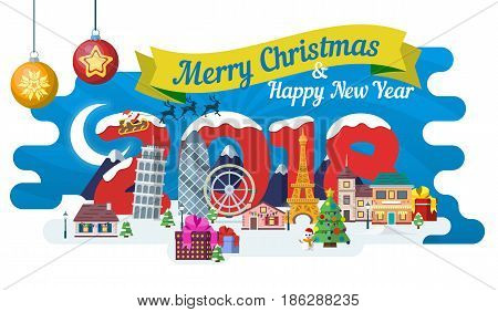 New Year and winter travel background. Christmas travel, Europe winter town, snow village. Traveling by plane and bus. The winter vacation. Flat Santa Claus. Year of the dog. Vector illustration