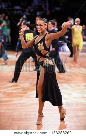 Latin Woman Dancer In A Dance Pose