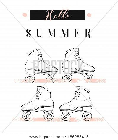 Hand drawn vector abstract creative illustration with graphic rollers and modern calligraphy quote Hello Summer in pastel colors isolated on white background.Unusual fashion summer time concept sign.