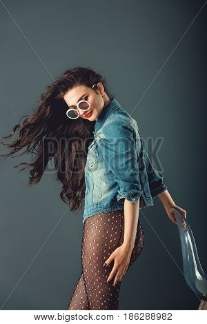 Gorgeous Girl With Red Lips White Sunglasses In A Blue Jacket Re