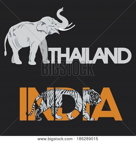 Vector illustration depicting two animals, national symbols of India and Thailand