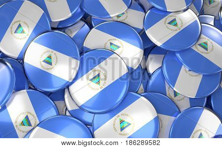 Nicaragua Badges Background - Pile Of Nicaraguan Flag Buttons.