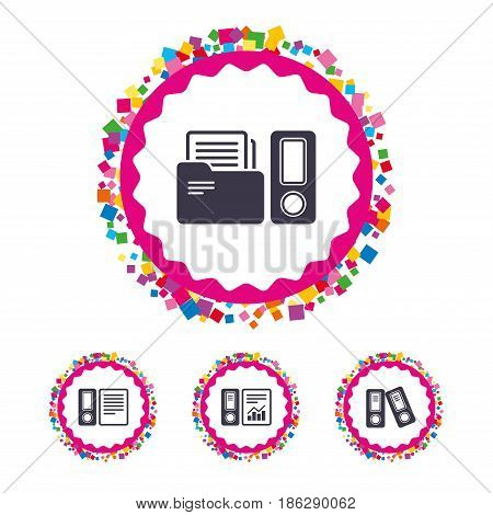 Web buttons with confetti pieces. Accounting report icons. Document storage in folders sign symbols. Bright stylish design. Vector